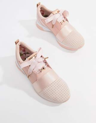 Ted Baker sporty strap detail blush suede sneakers