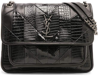 Saint Laurent Medium Leather & Snakeskin Patchwork Monogramme Niki Chain Bag