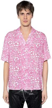 DSQUARED2 Floral Printed Viscose Bowling Shirt