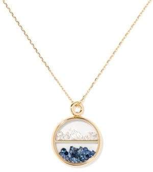 Aurelie Bidermann Diamond, Blue Sapphire& 18K Yellow Gold Medallion