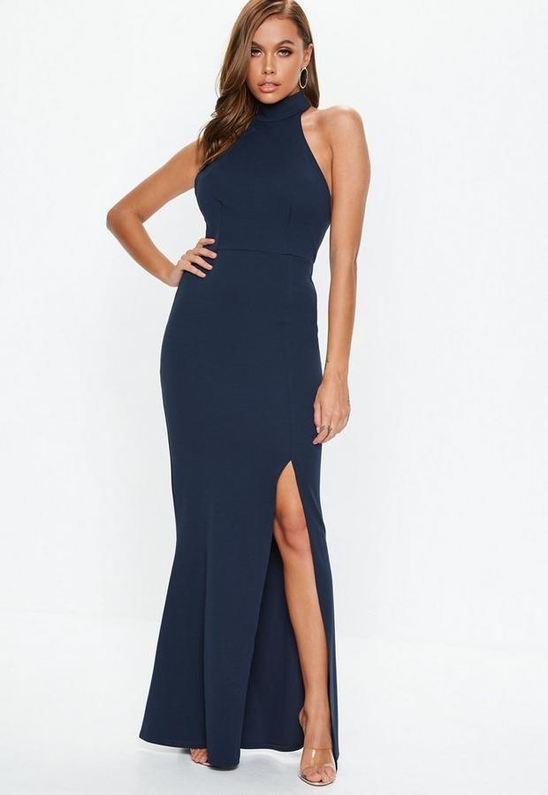 Navy Choker Maxi Dress, Navy