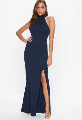 Missguided Navy Choker Maxi Dress
