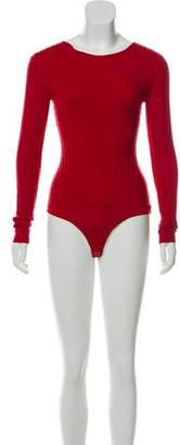 Intermix Long Sleeve Knot-Accented Bodysuit w/ Tags