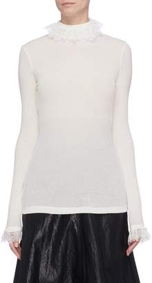 Philosophy di Lorenzo Serafini Lace trim rib knit sweater