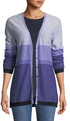 St. John Ombre Stripes Button-Front Sequin Cashmere-Knit Cardigan