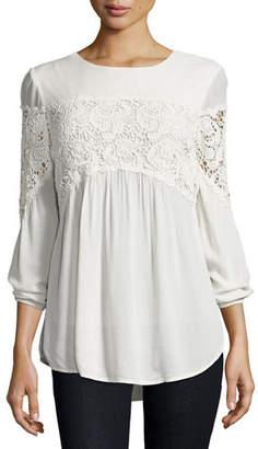 XCVI Aubree Floral-Crochet Top