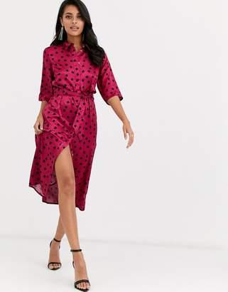 Closet London shirt dress in oversized splodge print in fuchsia and black