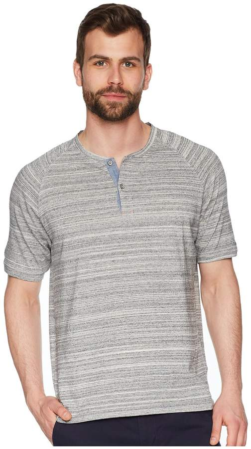 True Grit Royal Greys Combed Heather Grey Yarns with Stitch Detail Short Sleeve Raglan Henley Men's Short Sleeve Pullover