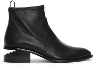 Alexander Wang Kori Black Leather Oxford Heel Stretch Ankle Boots