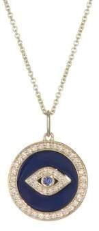 Sydney Evan Diamond, Sapphire, Navy Blue Enamel& 14K Yellow Gold Evil Eye Necklace