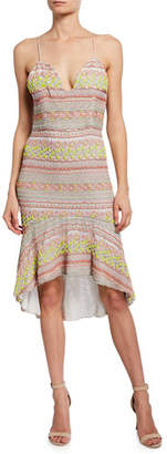 Alice + Olivia Amina Embroidered Plunging Sweetheart Fitted Dress