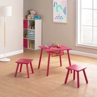 Mainstays Kids Wood Play Table & 2 Stools Set with Net Storage, Multiple Colors