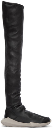 Rick Owens Black adidas Edition Stretch Tech Runner Over-the-Knee Boots $1,870 thestylecure.com