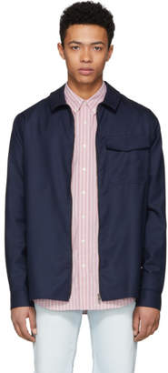 Schnaydermans Blue and Black Houndstooth Tape Zip Shirt Jacket