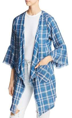 Billy T Plaid Kimono-Style Jacket
