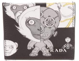 Prada Printed Leather Snap Wallet