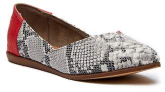 Toms Jutti Red Snake Print Leather Flat