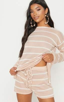 PrettyLittleThing Sand Lightweight Knit Tie Waist Short