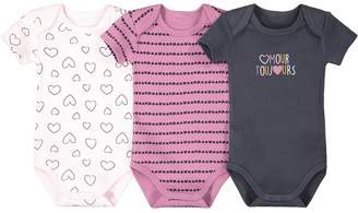 La Redoute COLLECTIONS Pack of 3 Cotton Bodysuits with Short Sleeves, Birth-3 Years