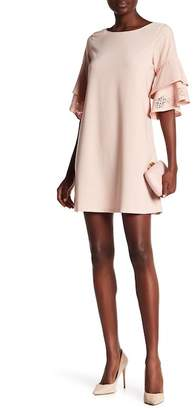 Laundry by Shelli Segal Laser-Cut Ruffle Sleeve Shift Dress
