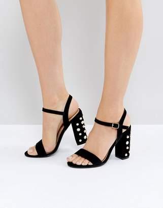 Public Desire Fairview Black Suede Pearl Detail Heeled Sandals