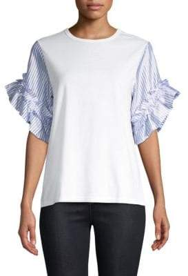 Clu Striped Ruffle Tee