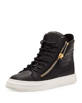 Giuseppe Zanotti Crocodile-Embossed High-Top Sneaker, Nero $695 thestylecure.com