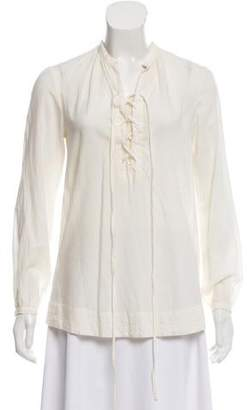Steven Alan Lace-Up Accented Long Sleeve Top