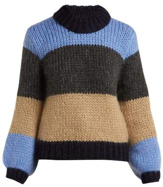Ganni Julliard Colour Block Mohair Blend Knit Sweater - Womens - Blue Multi