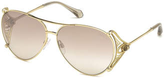 Roberto Cavalli Metal Aviator Sunglasses, Gold