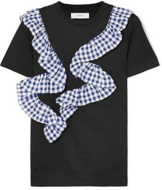 Facetasm Gingham Ruffle-trimmed Cotton-jersey T-shirt - Black