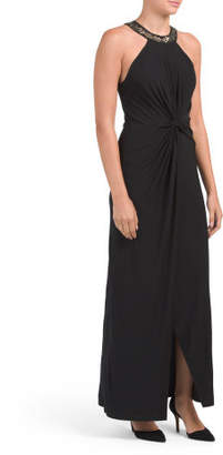 Made In Usa Knot Front Long Dress