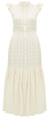 Apiece Apart Pacifica Check Jacquard Cotton Maxi Dress - Womens - Cream