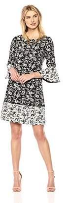 Jessica Howard Women's Printed Bell Sleeve Dress