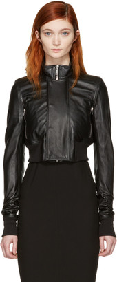 Rick Owens Black Leather Glitter Cropped Jacket $1,640 thestylecure.com