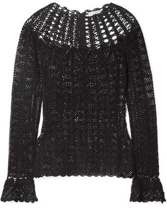 Ulla Johnson Heidi Crocheted Pima Cotton Top - Black
