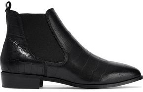 Iris & Ink Odelle Glossed Croc-effect Leather Ankle Boots