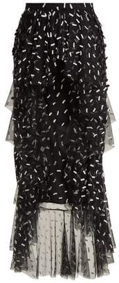 Rodarte Asymmetric Floral And Bow Applique Tulle Skirt - Womens - Black White