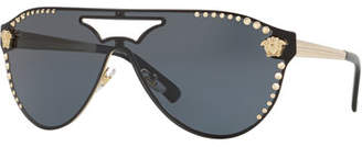 3d89d482a3 ... Versace Men s Metal-Studded Shield Sunglasses
