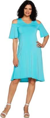 Halston H By H by Petite Jet Set Jersey Cold Shoulder Hi-Low Hem Dress