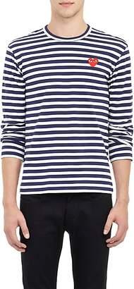 Comme des Garcons Men's Heart Striped Long-Sleeve T-Shirt - Navy
