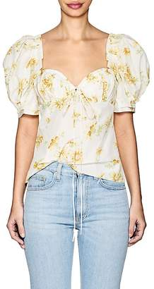 Brock Collection Women's Trixie Floral Cotton-Silk Puff-Sleeve Blouse