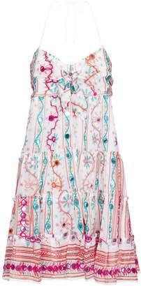 Juliet Dunn Cotton Embroidered Halterneck Dress