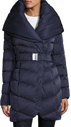 T Tahari Matilda Belted Down Coat, Blue $127 thestylecure.com