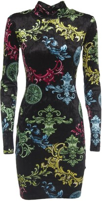Versace Multicolor Dress With Sleeves