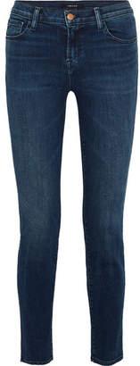 J Brand Maude Mid-rise Slim-leg Jeans - Dark denim
