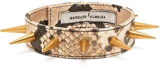 Marques Almeida Marques'almeida - Spiked Snakeskin Effect Leather Choker - Womens - Brown