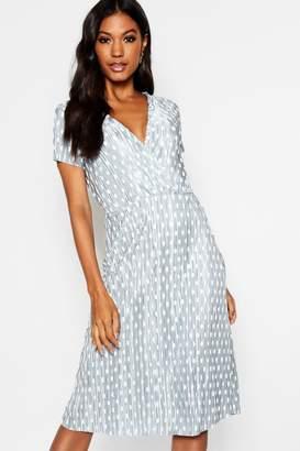 boohoo Polka Dot Cap Sleeve Plisse Slip Dress