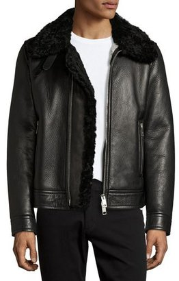 Burberry Lambskin & Shearling Aviator Jacket, Black $4,795 thestylecure.com