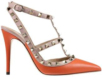 Valentino Pumps Rockstud Ankle Strap 10 Cm Heel In Two Colors And Micro Studs